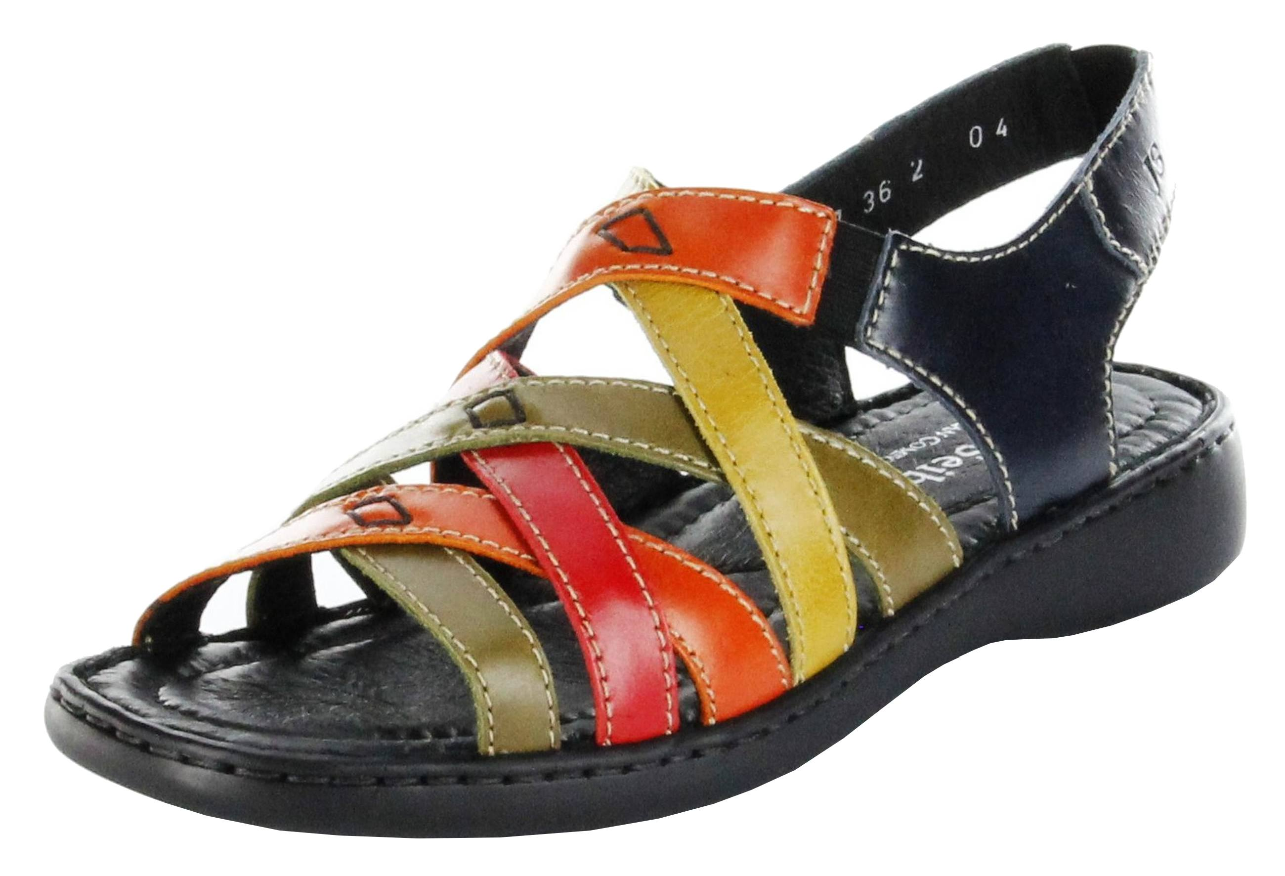 josef seibel sandaletten multicolor lederdeck keil leder damen schuhe lisa 03. Black Bedroom Furniture Sets. Home Design Ideas