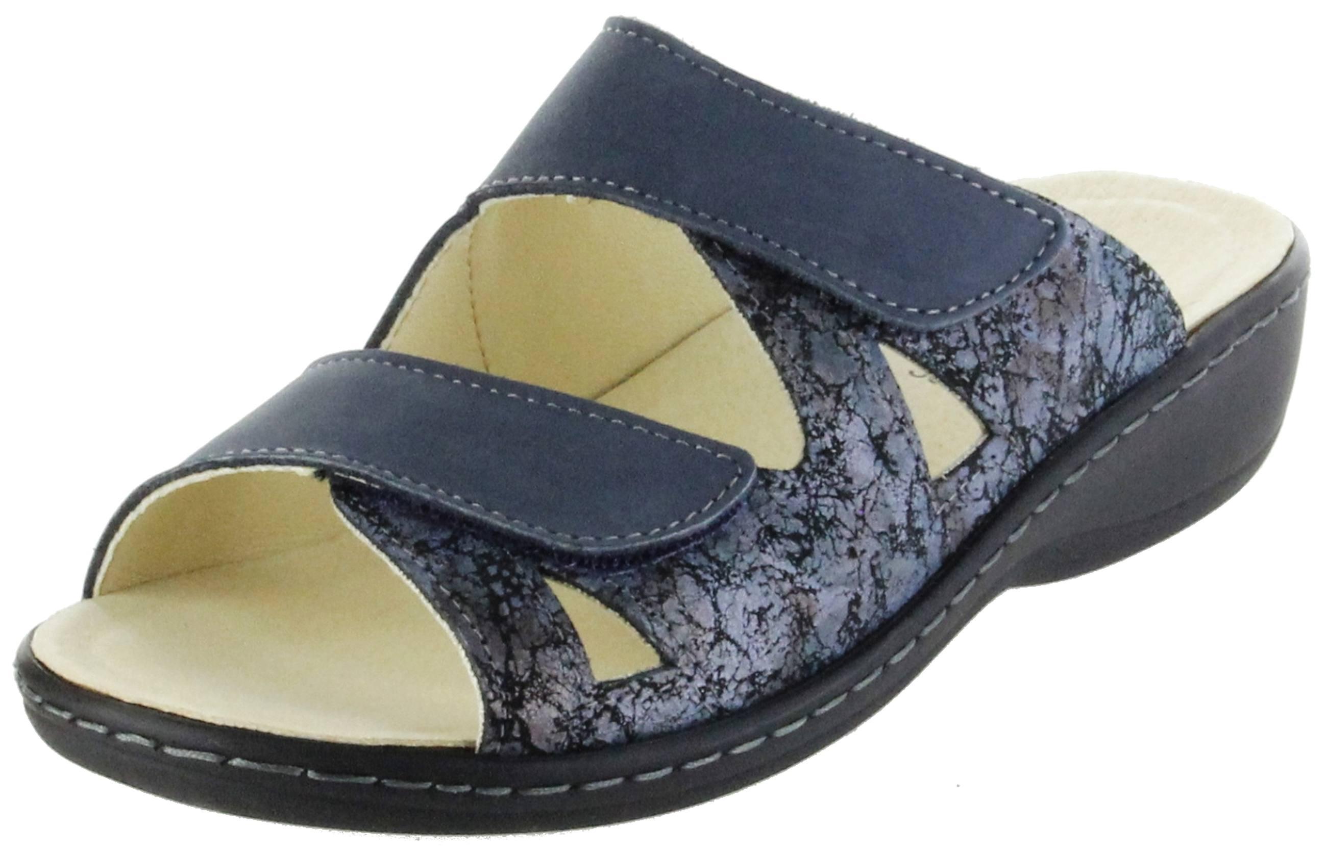 Belvida Wohlfühl-Pantoletten Blau Leder Wechselfußbett Rutschhemmende Sohle Klett Damen Schuhe 42.436, Größe:39, Farbe:Blau